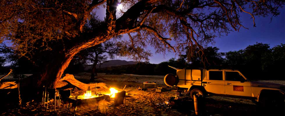Camping in Namibia at night